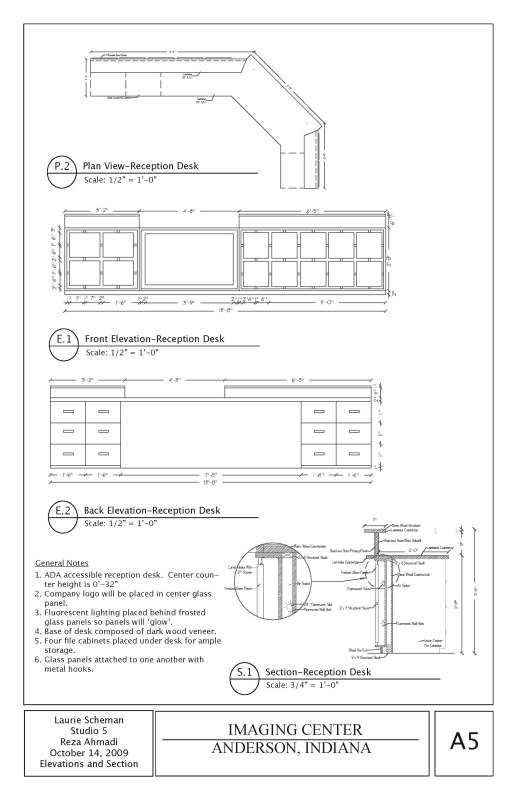 Reception desk plans google search kids reception - General notes for interior design drawings ...