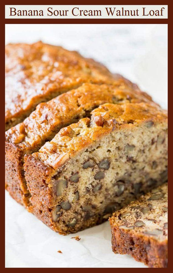 Banana Sour Cream Walnut Bread, an Old Fashioned Vintage Recipe / Great for Holiday Brunch, Gift Baskets & Perfect for Shipping to Friends