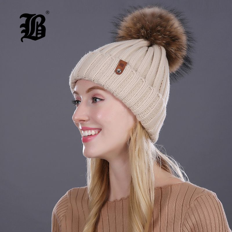 c5695c399dc  FLB  Wholesale Real Mink Fur Pom Poms Knitted Hat Ball Beanies Winter Hat  For