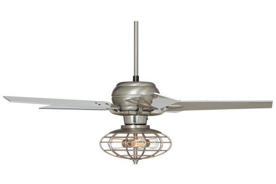 Casa Optima Industrial Ceiling Fan 52 Quot Brushed Steel With Images Industrial Ceiling Fan
