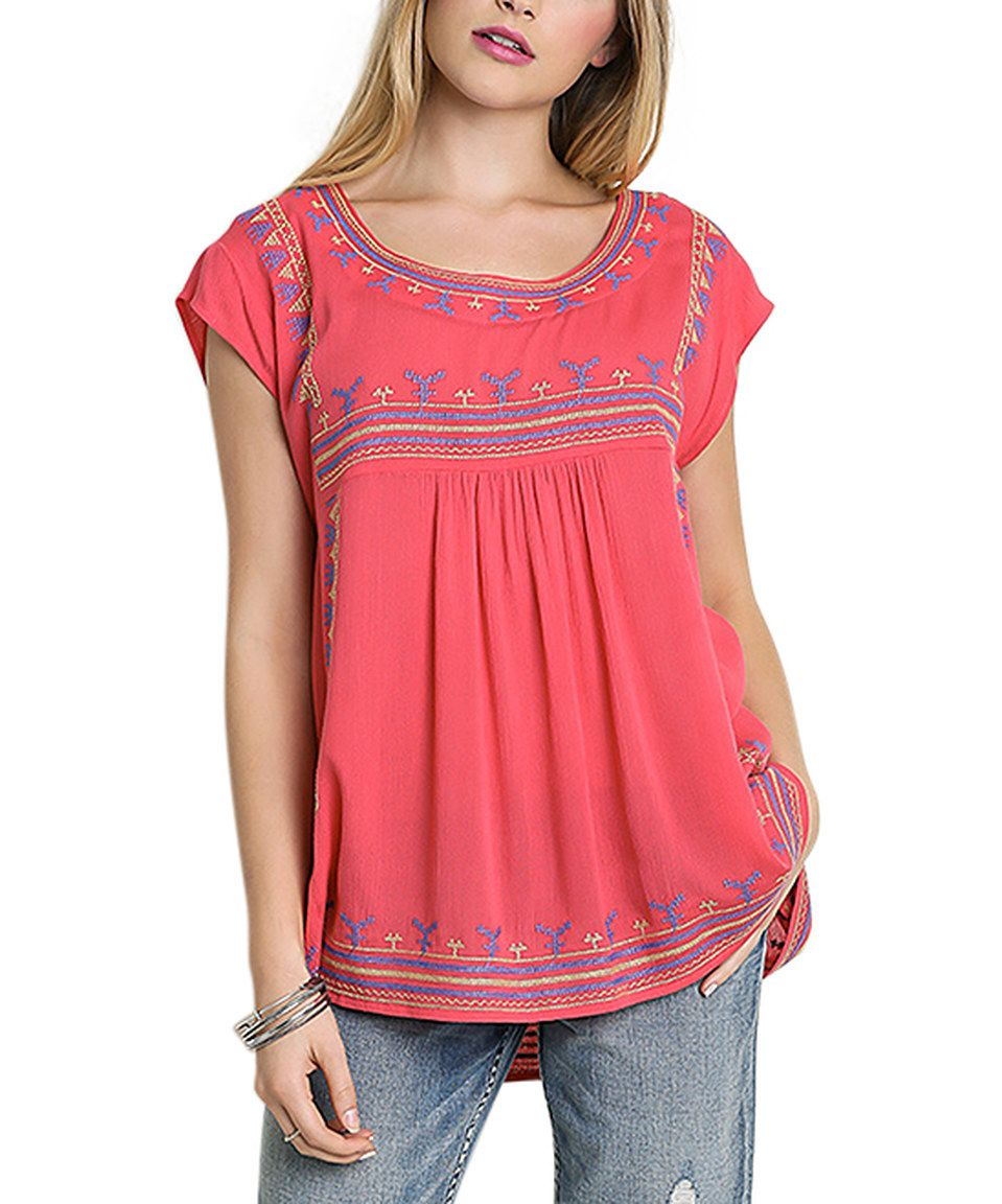 Another great find on #zulily! Coral Embroidered Cap-Sleeve Top by UMGEE U.S.A. #zulilyfinds