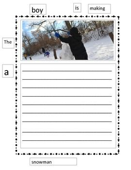 """This activity is created to use as a scaffold approach for students that need hurdle help beginning their writing.  I refer to the """"paper wall"""" as the sight words surrounding their paper, just like a word wall.  Students are to use these words to create their first sentences."""