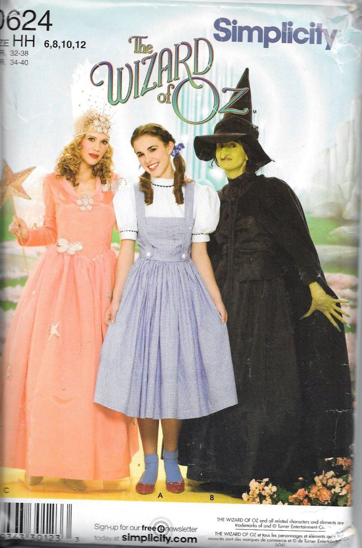 Simplicity 0624 WIZARD OF OZ Dorothy Glenda Wicked Witch Costume ...