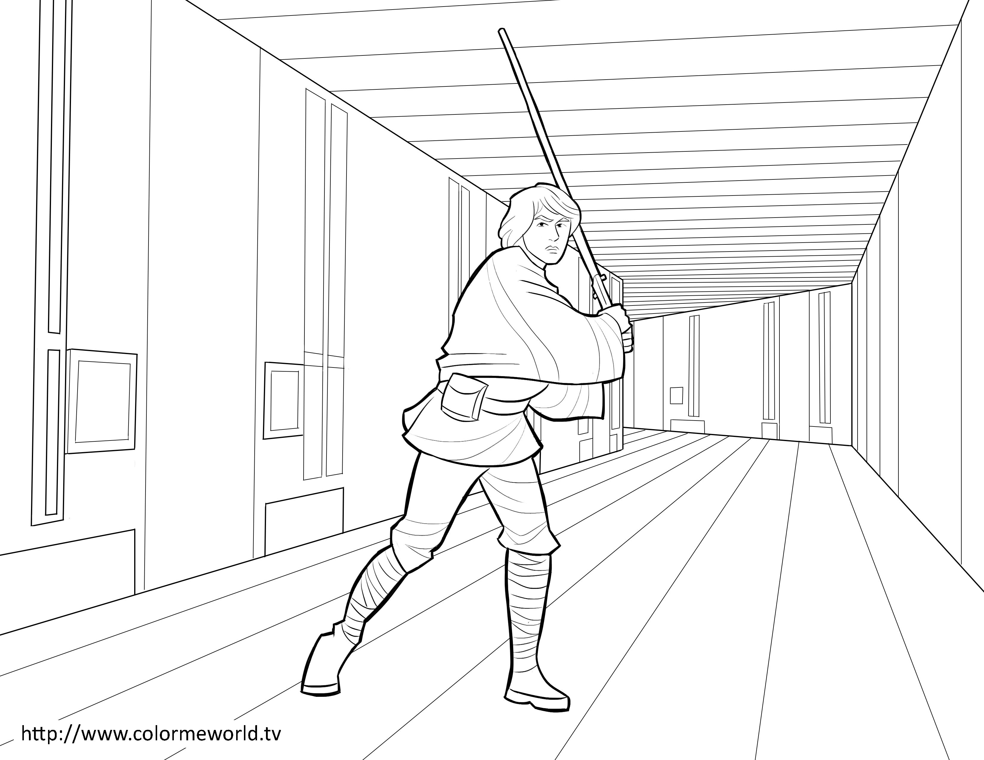 Luke Skywalker PDF Printable Coloring Page - | LineArt: Star Wars ...