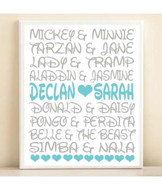 Disney Couples Personalized Names Typography Print: 8x10 or 11x14 ...