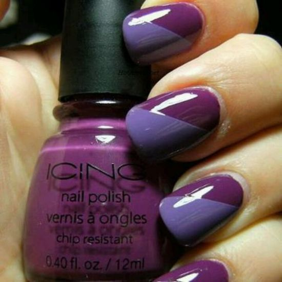 Alluring two tone purple nail art | Cute hairdos and awesome makeup ...