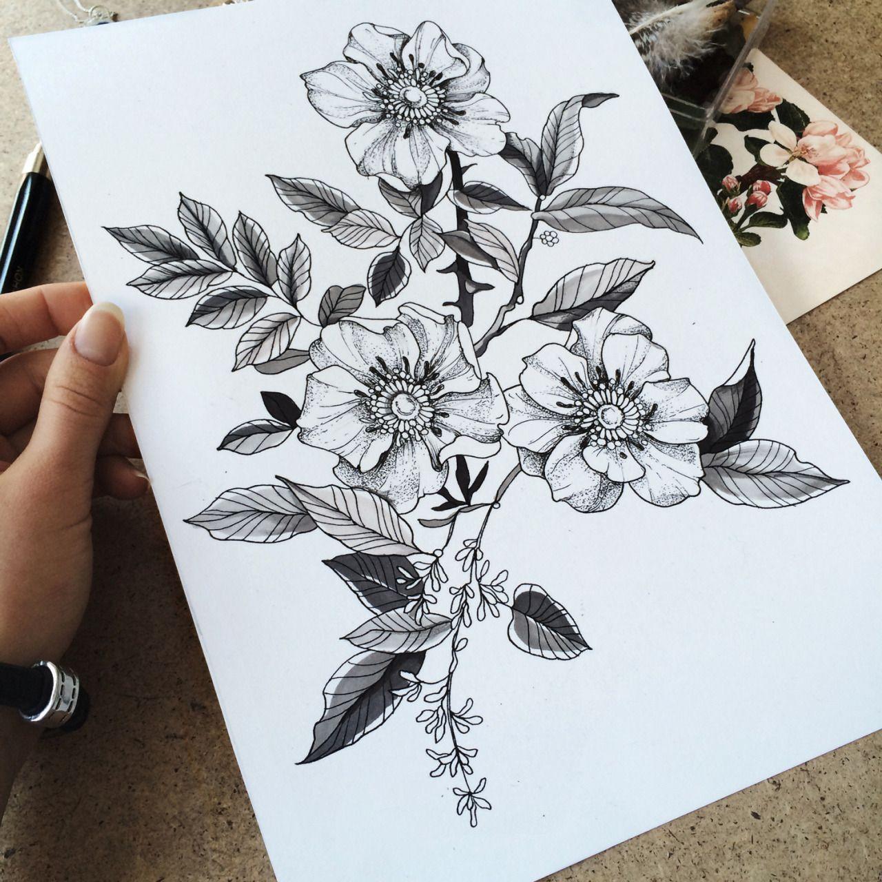 Familyinktattoo Wild Roses Tattooskech Wild Rose Tattoo Flower Drawing Rose Tattoos