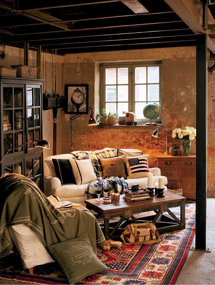 Cabin decor cabin and rustic style unfinished basement - Turn unfinished basement into bedroom ...