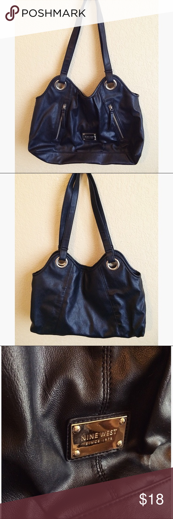 Nine West Distressed Leather Shoulder Bag ✔️Smoke free ✔️Pet free  This beautiful distressed black leather shoulder bag is perfect for work and the weekend! It is a nice size that fits everything without being bulky. It also has an inside zipper pocket and the two outer zipper details have pockets as well. Nine West Bags Shoulder Bags