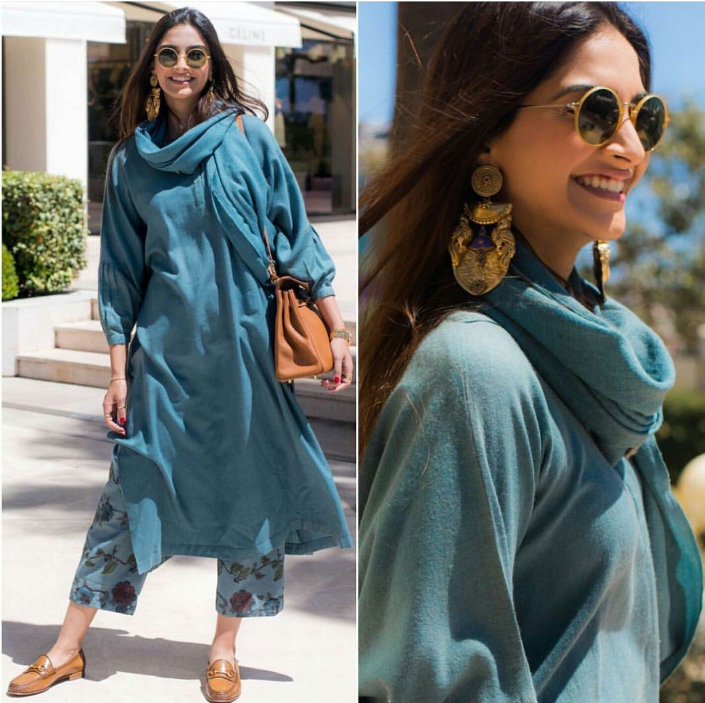 Sonam Kapoor wearing Blue tunic with printed pants and dupatta by ...
