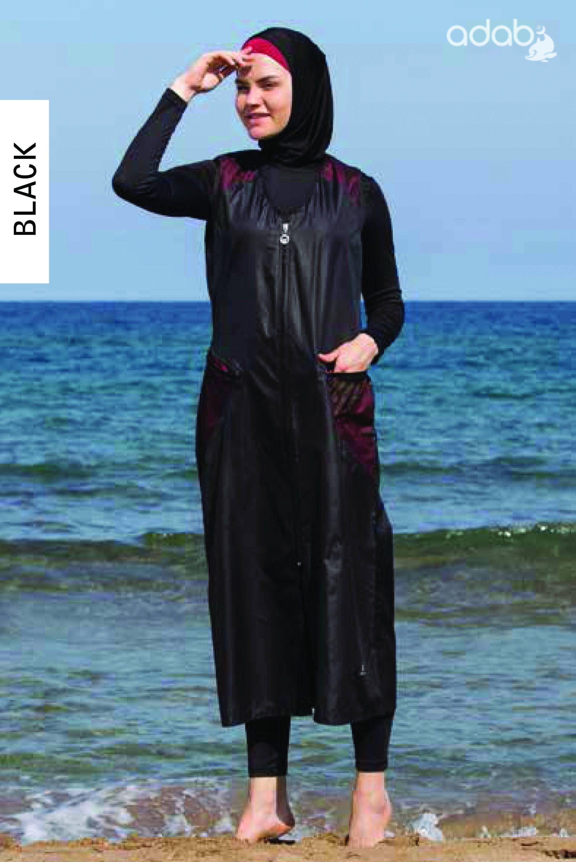 d7225c0778 Adabkini Sila Muslim 5-piece Long Swimsuit Islamic Full Cover Modest  Swimwear Beachwear Bathingsuit by