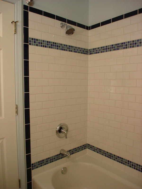 Vertical Shower Border With White Subway Tile Kids Bath