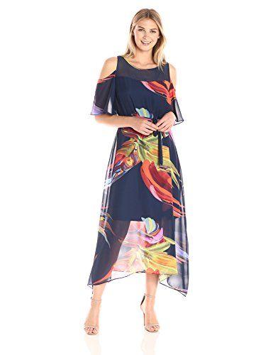 893b5d2ff566 ROBBIE BEE Women's Printed Chiffon Hanky Hem Dress with Cold Shoulder