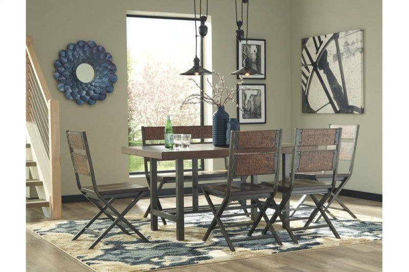 Rectangular Dining Room Table W Metal Wood Combination Table