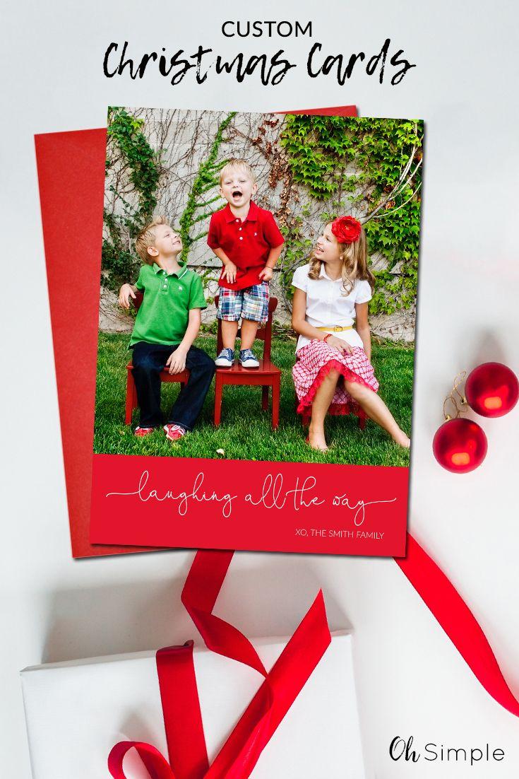 Custom Christmas Cards.Photo Christmas Cards Modern Holiday Cards Simple