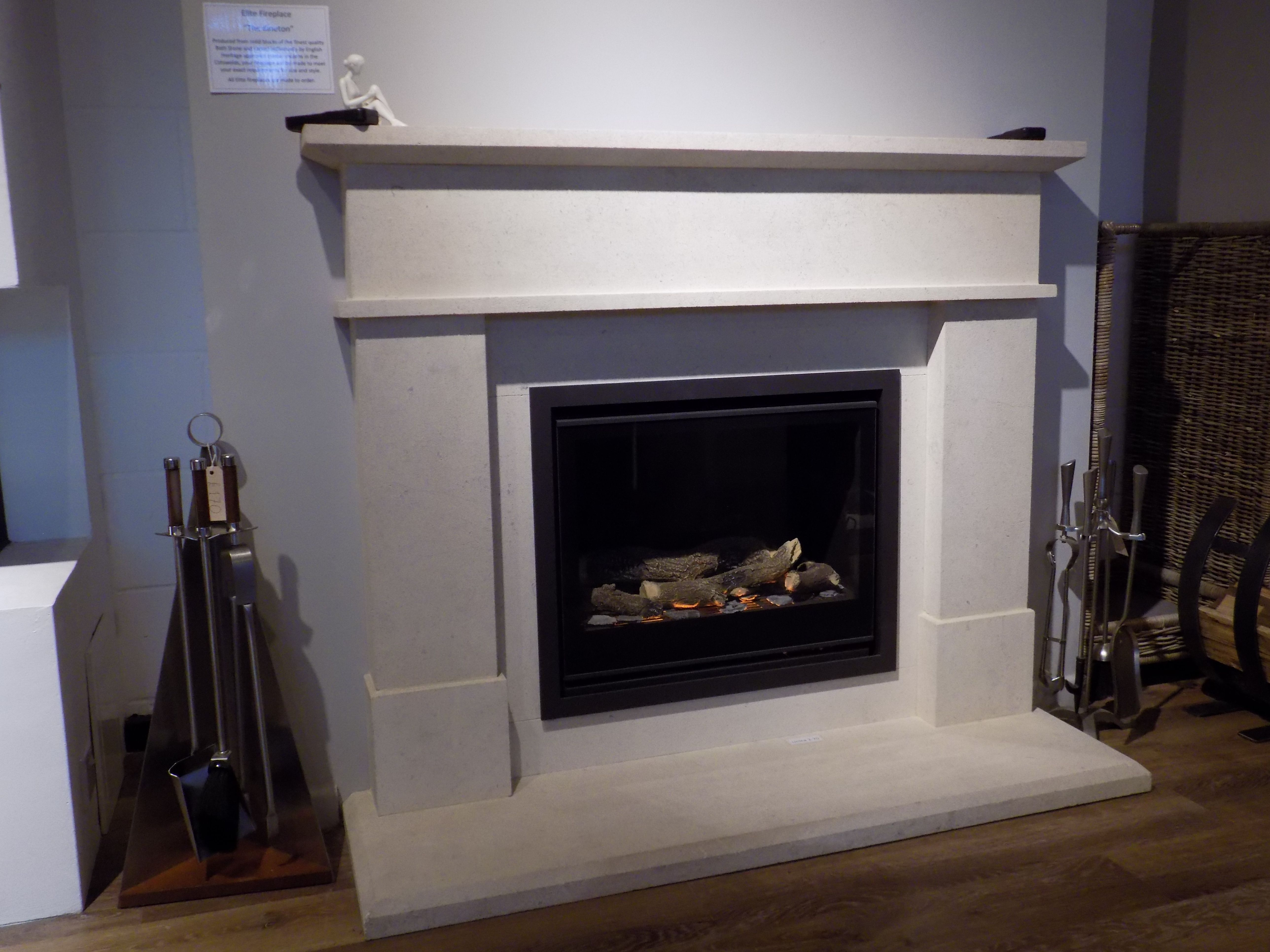 Colnestoves.Bathstone Fireplace. See the new Elite Kineton hand carved fireplace at our new showroom. Call 01284 388188