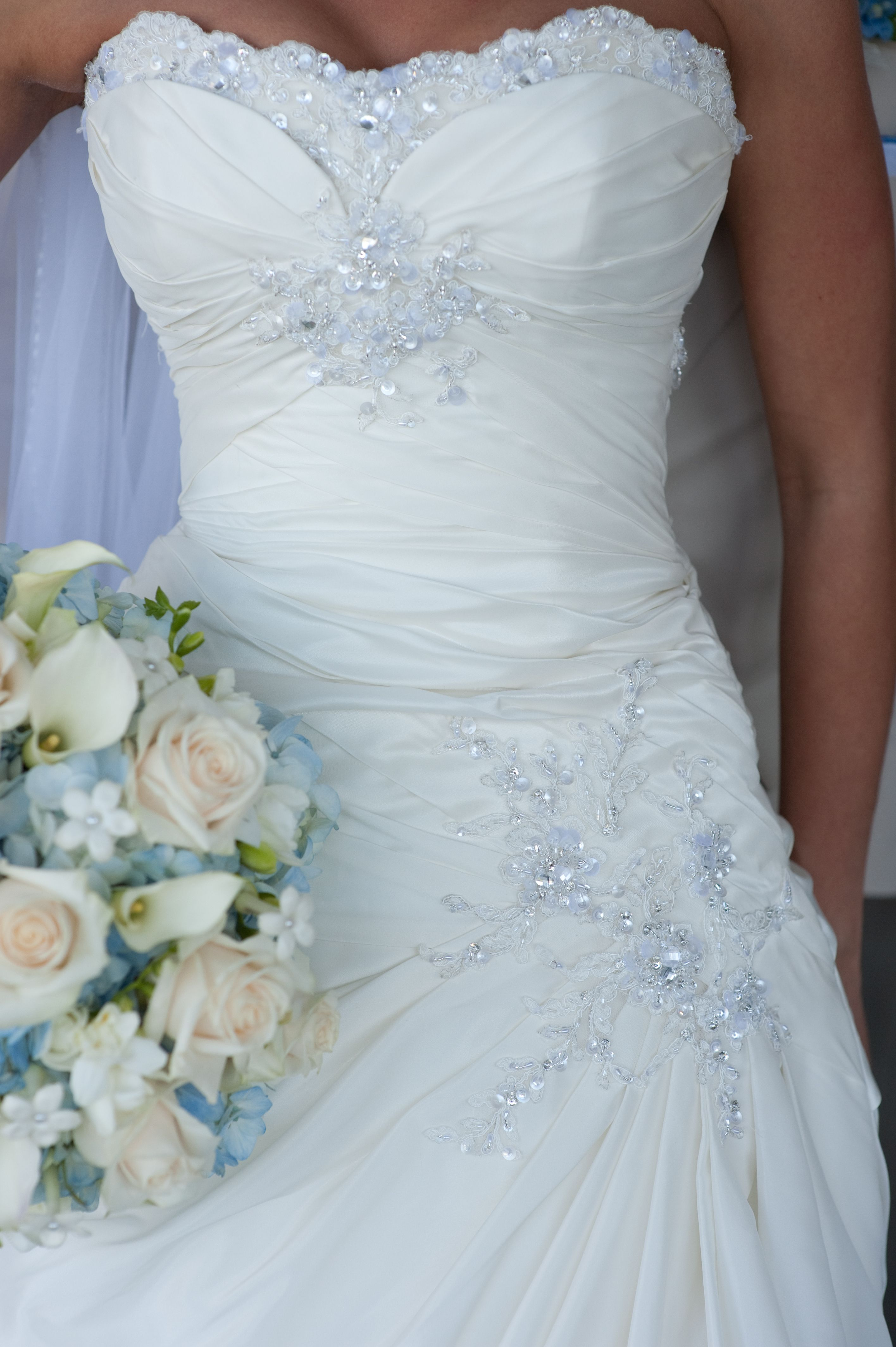Blinged out wedding dress  I love this dress because there is not too much or too little of