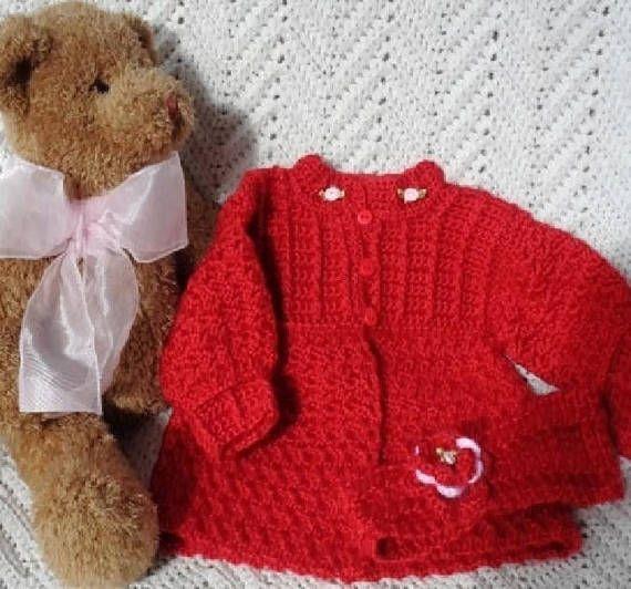 dbda3f8bc Crocheted Red Sweater w Headband Valentines Day Newborn Baby ...