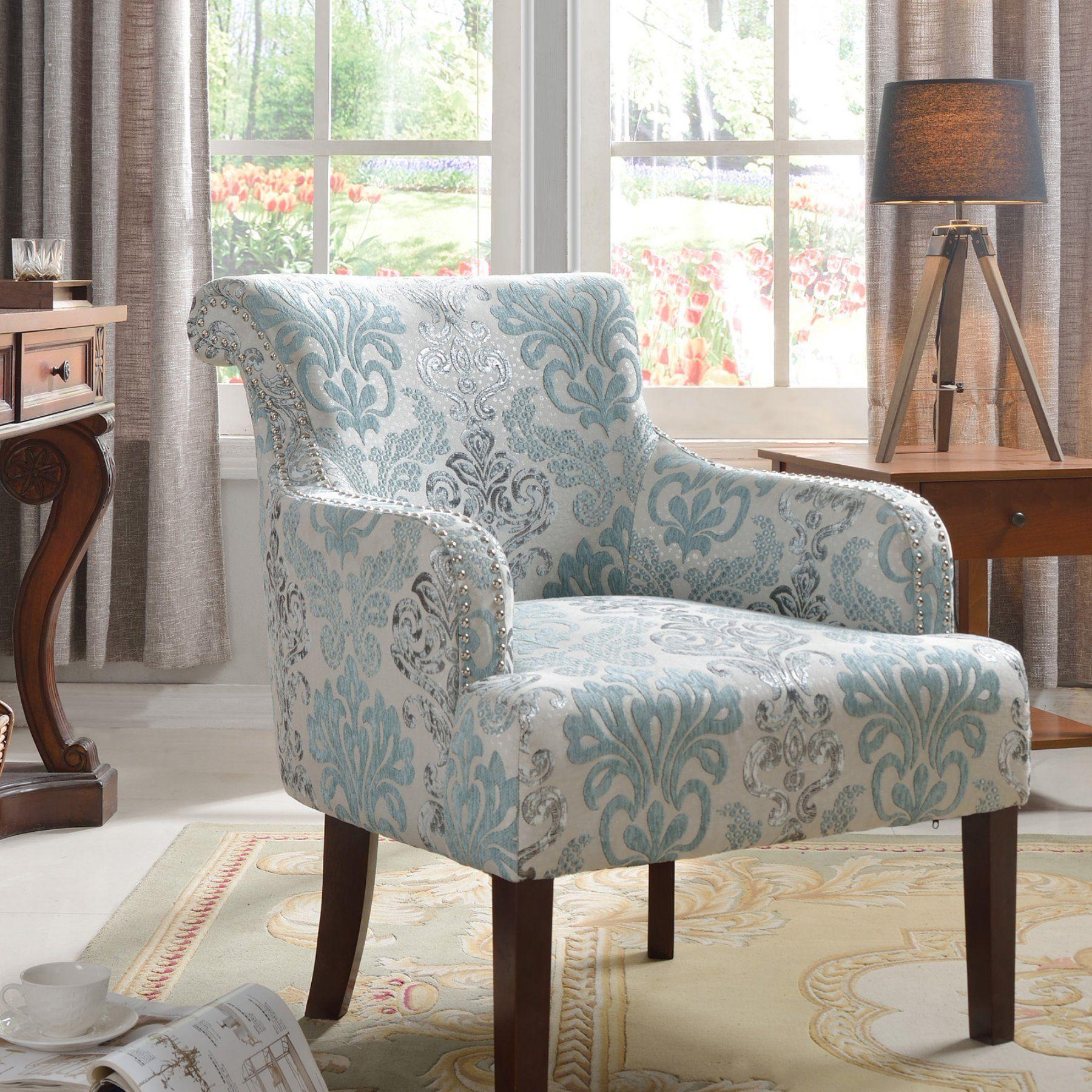 Best Master Furniture Regency Teal Floral Living Room Accent Chair