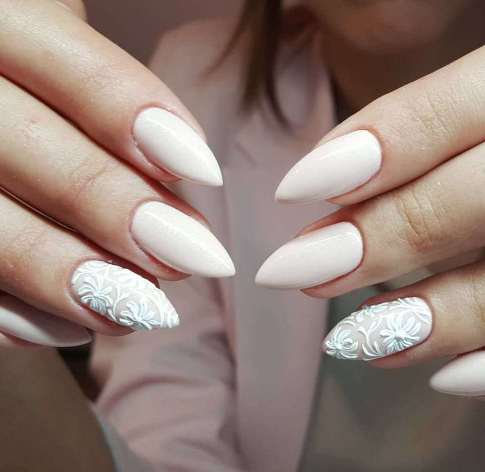 Pom Gel Polish Nail Art White By Emilia Tokarz