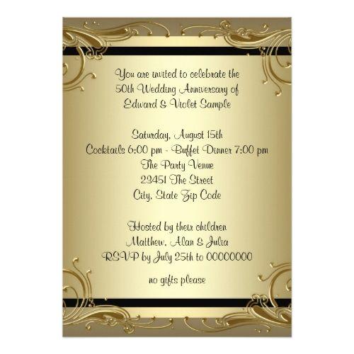 Simple Wedding Invitations Elegant Gold 50th Wedding Anniversary ...