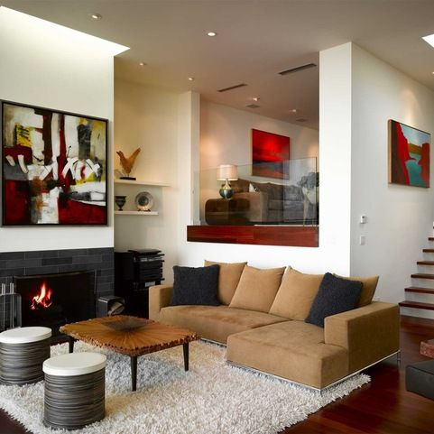 Quad Level Exterior Design Ideas Pictures Remodel And Decor Sunken Living Room Living Room Remodel Trendy Living Rooms