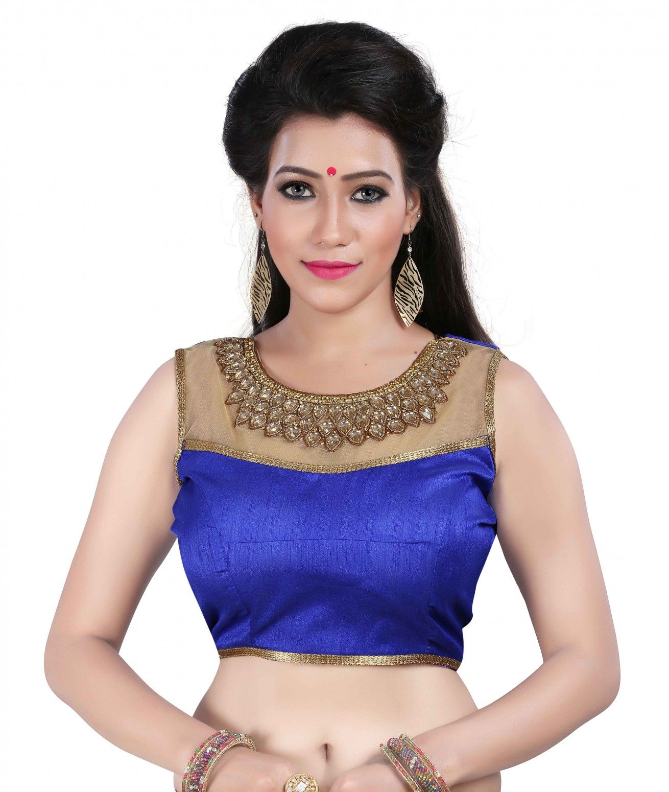 31f9ceb0a50987 Buy kuvarba fashion Blue Banglori Silk Blouses Online at Low prices in India  on Winsant