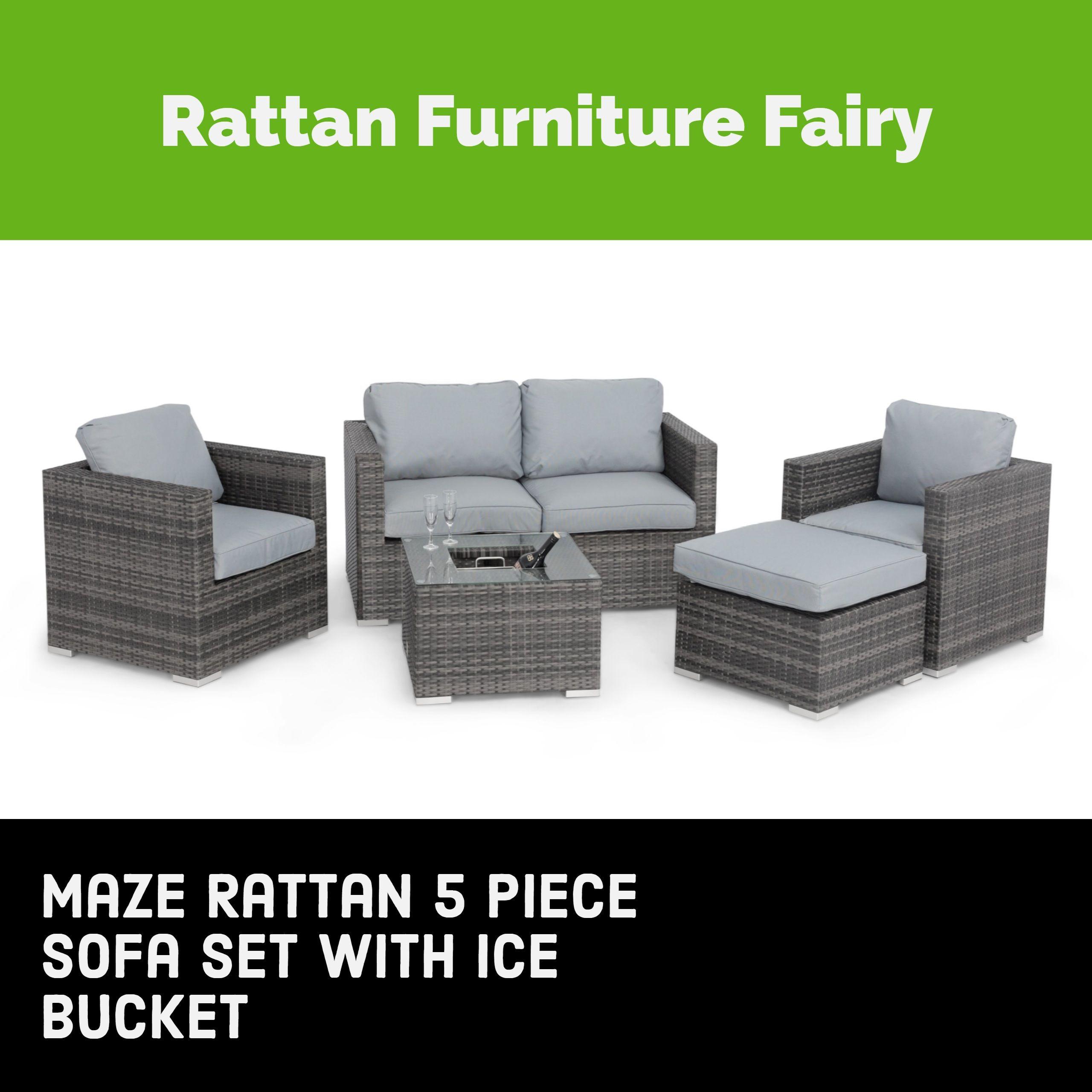 Maze Rattan 5 Piece Sofa Set with Ice Bucket