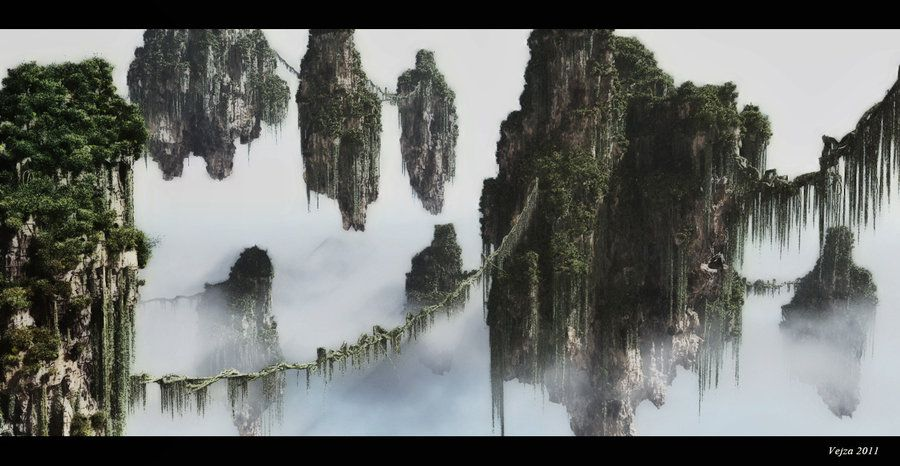 Floating mountains by vejza mountain art avatar movie art