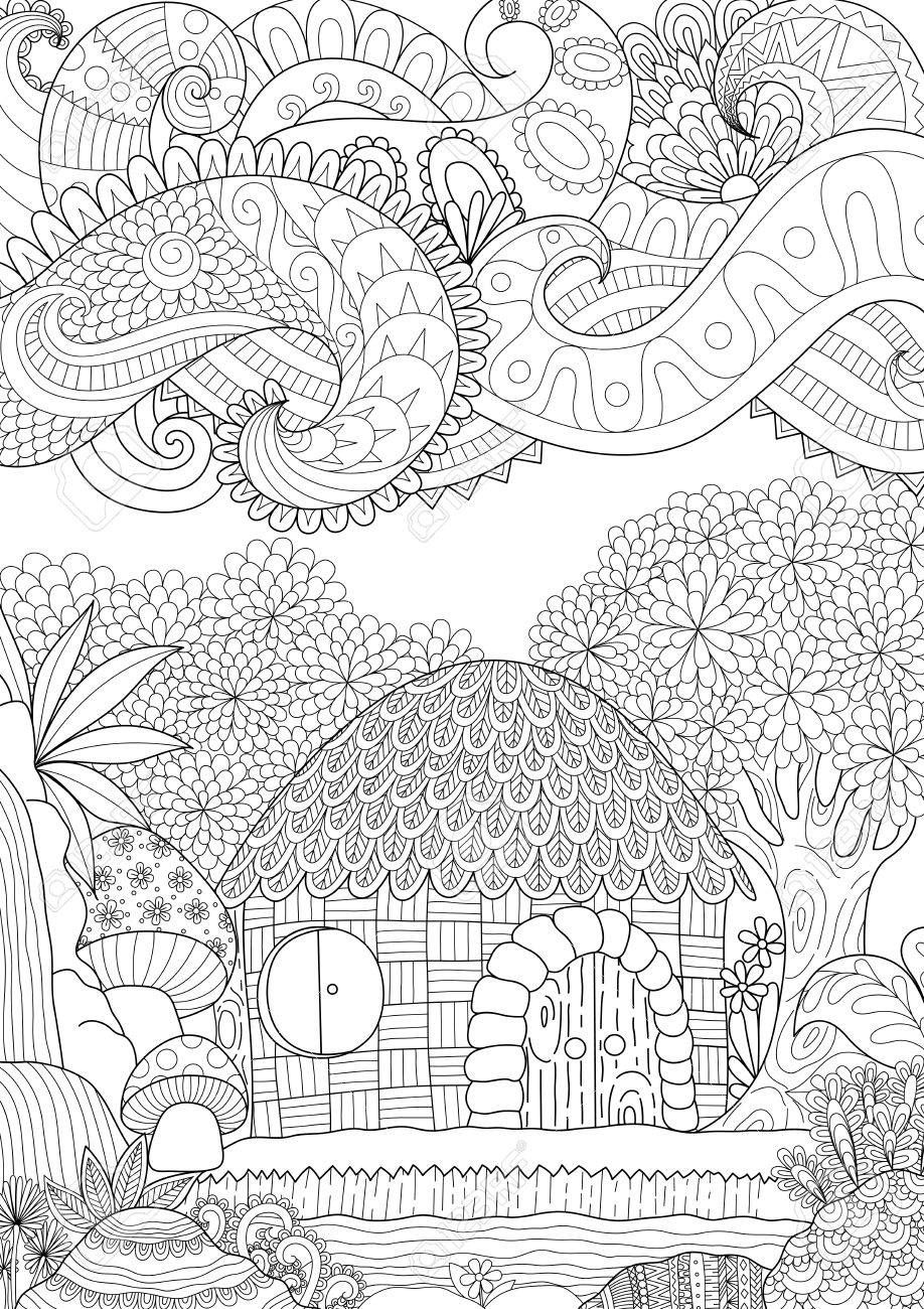 Zendoodle Diseno De La Pequena Cabana En El Bosque Con Nubes Abstractos Para Colorear Para Los Adultos Anti Estres Imagen Vectorial Dibujos Abstractos Para Colorear Paginas Para Colorear De Animales