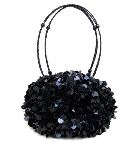 black bead and sequins evening bag