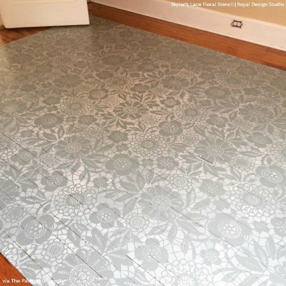 Skylars lace floral stencil painted hardwood floors chalk paint diy painted hardwood floor project using skylars lace floral stencils and chalk paint royal design solutioingenieria Image collections