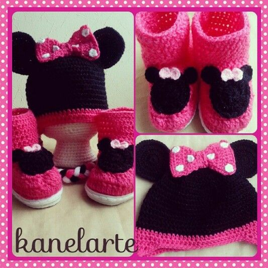 Minnie Mouse. gorro y zapatos de crochet | GorriToS . Zapatitos ...