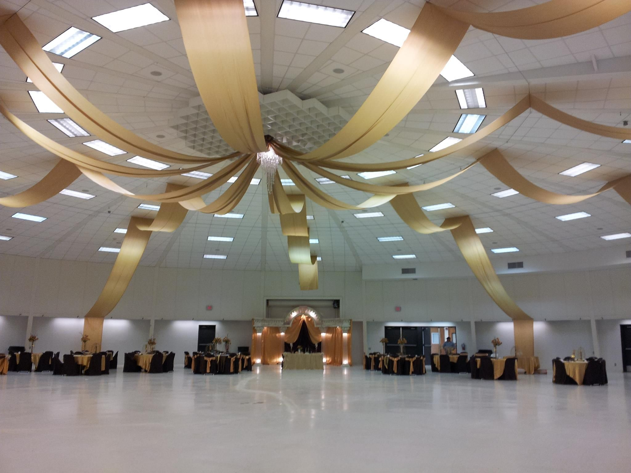 Gold Ceiling Draping with lights and chandelier ...