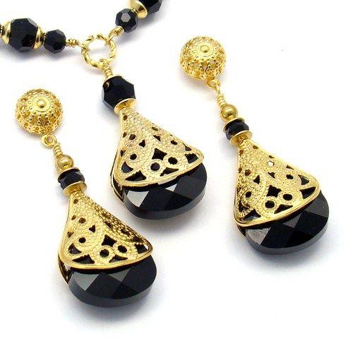 Black Gold Jewelry SetSwarovski Crystals 22K Gold Plated Jewelry
