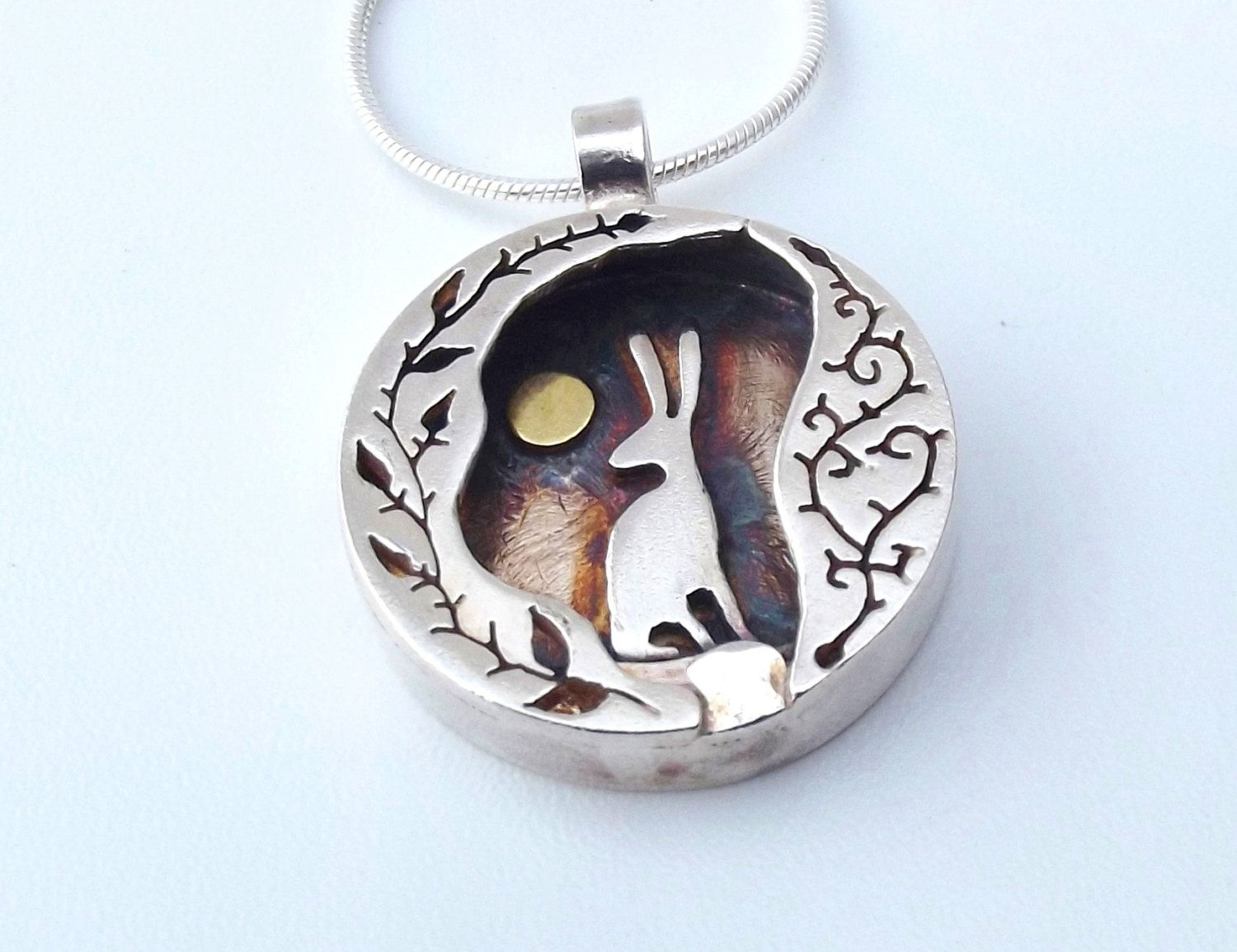 Hare necklace hare jewellery hare moon rosehip and bramble hare moon rosehips and bramble necklace a hare sitting in the moonlight in this silver and gold necklace a moon gazing hare a yellow harvest moon lights aloadofball Gallery