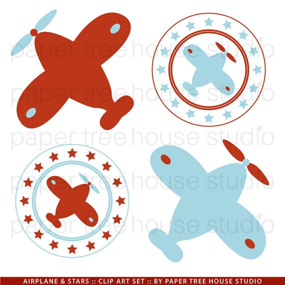 Clip Art Set  Airplanes and Stars  Red and by papertreehousestudio, $3.95