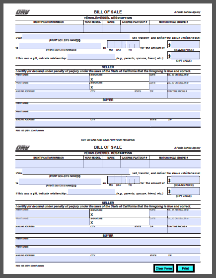 California Vehicle Bill Of Sale Form Free Fillable Pdf Forms Bill Of Sale Template Car Title Money Template