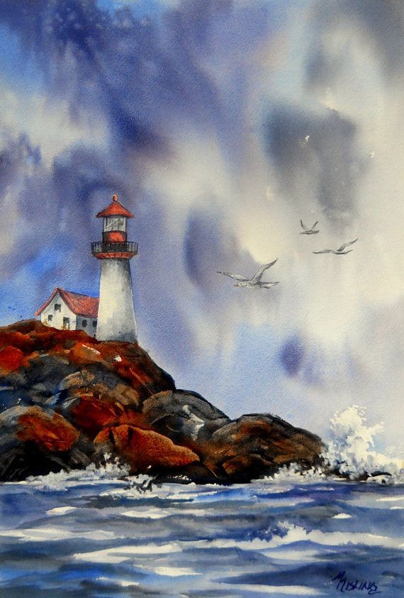 Seascape Painting Lighthouse Ocean Rocks Seagulls Watercolor By