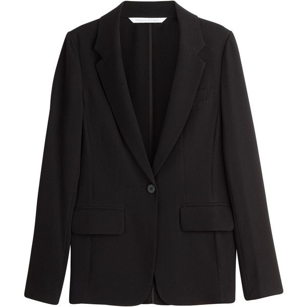 Diane von Furstenberg Andry Stretch Crepe Blazer ($299) ❤ liked on Polyvore featuring outerwear, jackets, blazers, black, blazer, women, black blazer, diane von furstenberg blazer, slim fit blazer and slim jacket