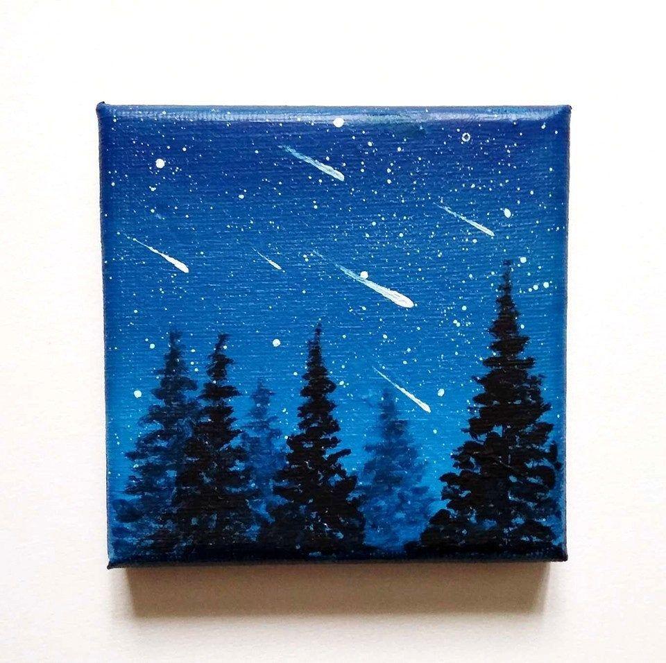 Tableau Pluie D Etoile Filantes Peinture De Nuit Acrylique Art Miniature Decoration De Bureau Idee Cadeau Small Canvas Art Diy Canvas Art Mini Canvas Art