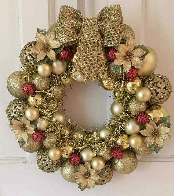 Gold Christmas Bauble Wreath with lights