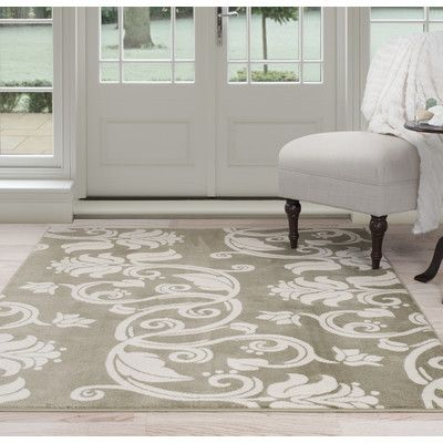 PLYH Floral Scroll Green/Beige Area Rug Rug Size: 4' x 6'