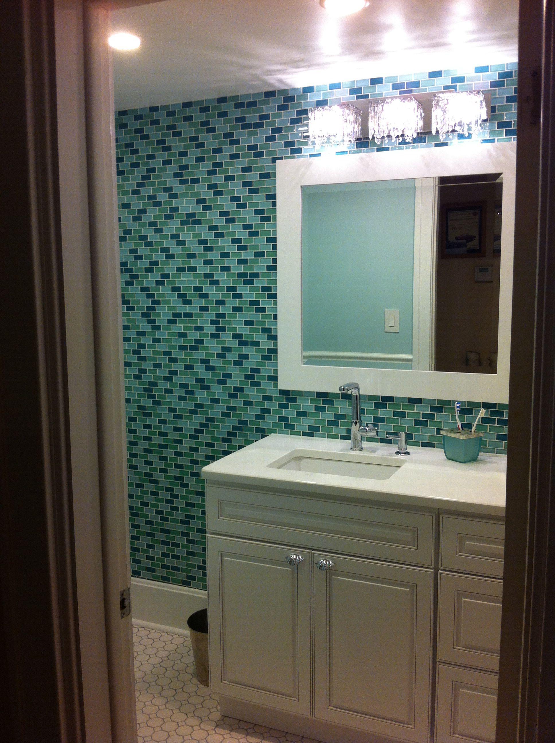 Small half bath with glass subway tile, 48\