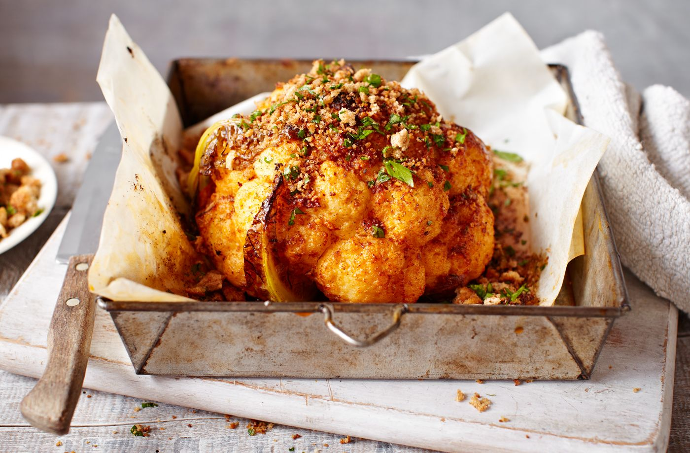 Whole roasted cauliflower with garlic and paprika recipe tesco real food forumfinder Image collections