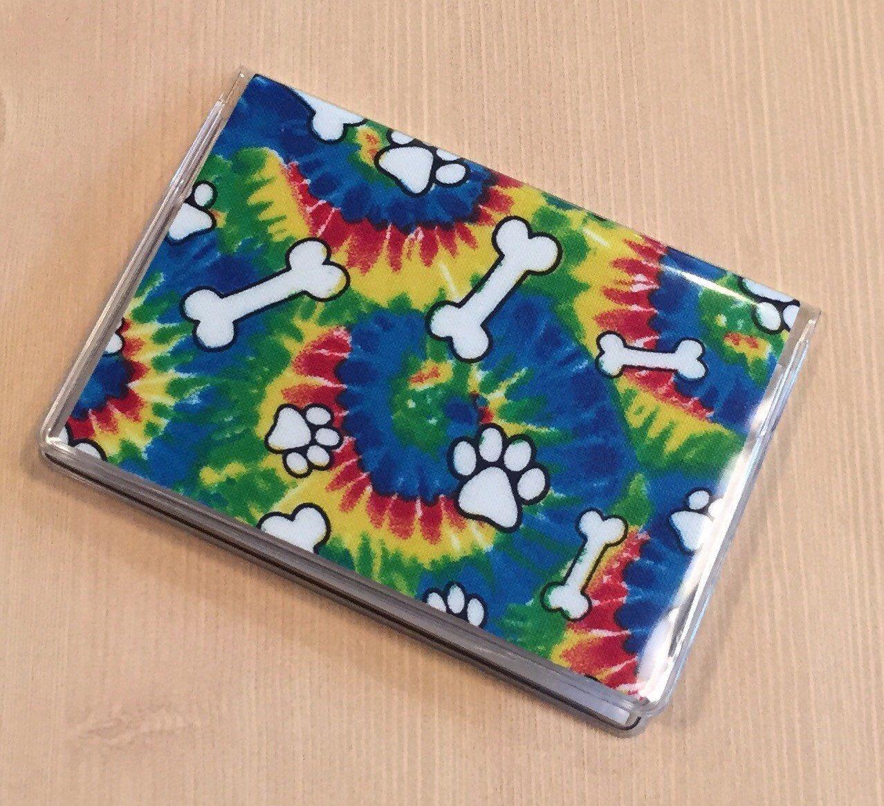 Card case mini wallet tie dye dog bones paws etsy