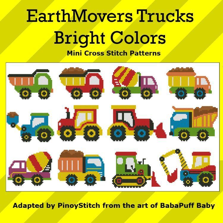 Mini Cross Stitch Pattern: EarthMovers Trucks Bright Colors Design Source: BabaPuff Baby DMC Floss Colors: 10