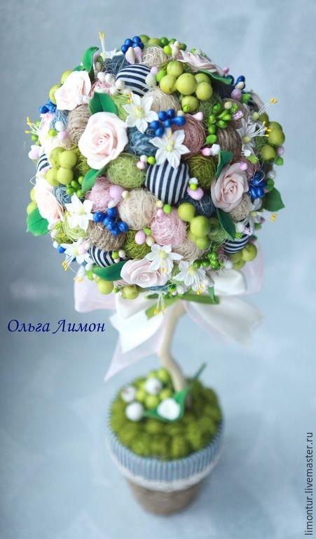 """Купить Топиарий """"Mariniere""""! - темно-синий, морской, морячка, полосатый, апельсин, цветы апельсина, розы"""