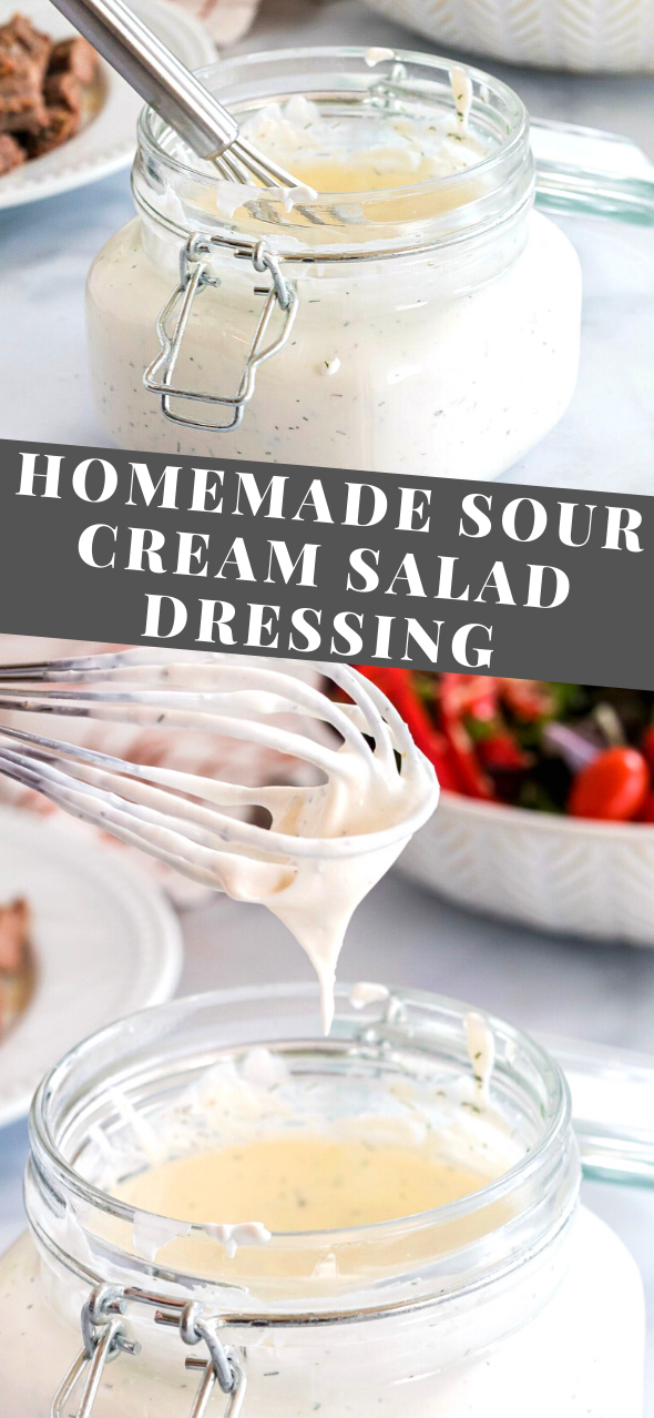 Homemade Sour Cream Salad Dressing In 2020 Homemade Sour Cream Sour Cream Salad Dressing Delicious Salad Dressings
