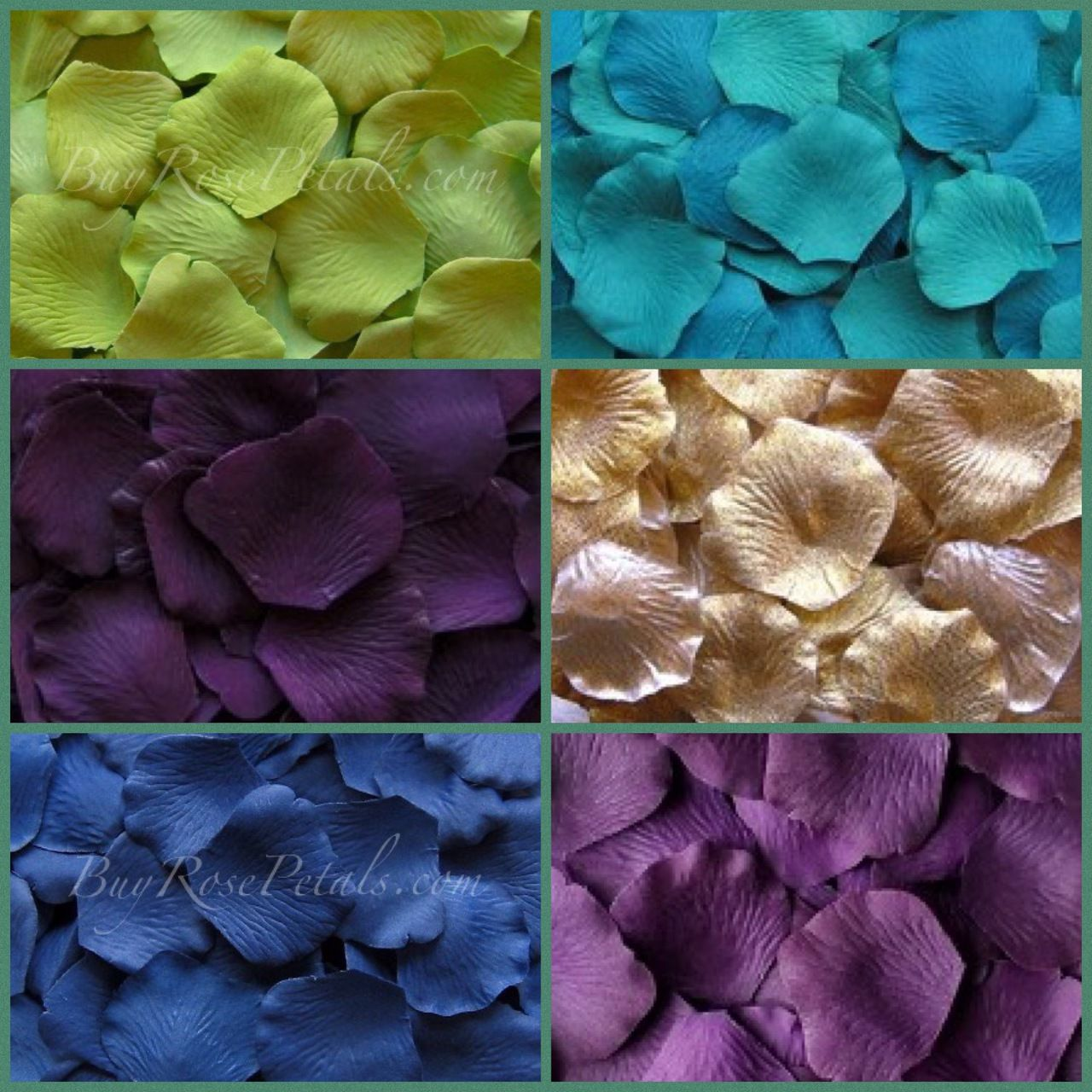 Peacock Blend Silk Rose Petals In The Beautiful Wedding Theme Colors